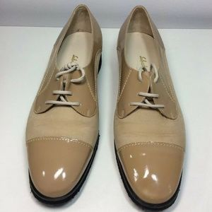 Salvatore Ferragamo Tan Patent Leather Suede Shoe